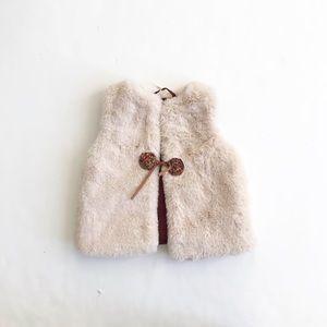 Zara faux fur lined pom vest EUC 12-18 months